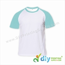 Dryfit Tee with Colour Sleeve (Round Neck) (Blue Sleeve) (L) (160gsm)