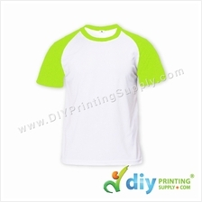 Dryfit Tee with Colour Sleeve (Round Neck) (Green Sleeve) (M) (160gsm)