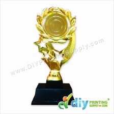 Trophy Award (Gold) (Plastic) with Sticker Paper & Aluminium Board
