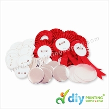 Button Badge Ribbon Medal with Mylar (Red) (58mm) (50 ? pcs/pkt)