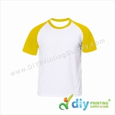 Dryfit Tee with Colour Sleeve (Round Neck) (Yellow Sleeve) (M)