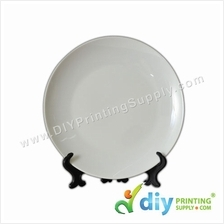 3D Ceramic Plate (Full White) (8) with Stand & Box