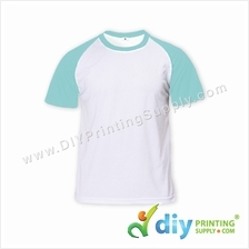 Dryfit Tee with Colour Sleeve (Round Neck) (Blue Sleeve) (M) (160gsm)