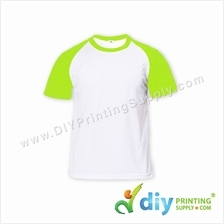 Dryfit Tee with Colour Sleeve (Round Neck) (Green Sleeve) (S) (160gsm)