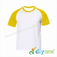 Dryfit Tee with Colour Sleeve (Round Neck) (Yellow Sleeve) (XL)
