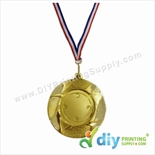 Medal Award (Gold) (8.5cm) with Ribbon [Without Sticker Paper]
