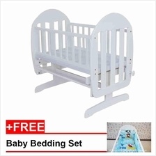 Royalcot Baby Cradle 13 White + FREE Bedding Blue Mickey