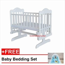 Royalcot Baby Cradle 01 White+FREE Bedding Blue Mickey