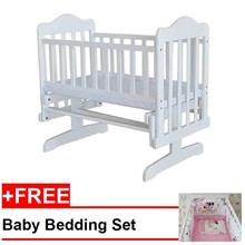 Royalcot Baby Cradle 01 White+FREE Bedding Pink Minnie