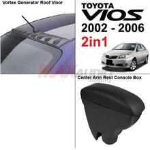 2in1* TOYOTA VIOS 2002-06 Roof Fin Visor + Leather Arm Rest