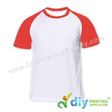 Dryfit Tee with Colour Sleeve (Round Neck) (Red Sleeve) (XL) (160gsm)
