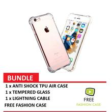 APPLE IPHONE 7 ANTI SHOCK TPU CASE, TEMPERED GLASS, LIGHTNING CABLE -