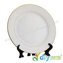 Ceramic Plate (Gold Lining) (10) with Stand & Box