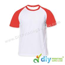 Dryfit Tee with Colour Sleeve (Round Neck) (Red Sleeve) (L) (160gsm)