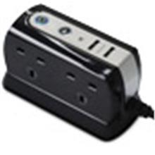 MASTERPLUG 4-SOCKET WITH 2 USB SURGE PROTECTOR BLACK SRGDU42PB-MP