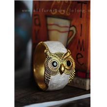 YN-5605	Owl drop glaze bangle 猫头鹰滴釉..
