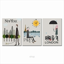 hOurHome 3pcs Rectangle Modern Art Paintings & Clock Set - A3954