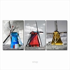 hOurHome 3pcs Rectangle Modern Art Paintings & Clock Set - A3963