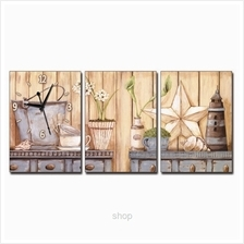 hOurHome 3pcs Rectangle Modern Art Paintings  & Clock Set - A3966-1-2-3)