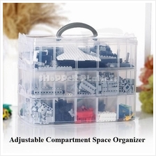 Bricks Compartment Organizer 3 Layer Extra Large Adjustable Stackable
