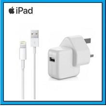 Apple iPad Travel Adapter Mains Charger + Lightning USB Data Cable