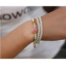 YN-6126	Pink flower multi-layer bracelet   粉嫩花&#2..