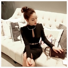 STYLISH LONG SLEEVE DRESS BLACK