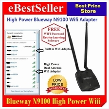 Blueway N9100 High power USB Wifi Adapter X2 Antenna Vs Alfa + FREE CD