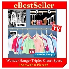 Wonder Hanger Triples Closet Space (8pcs/pack) Hold up to 40 Garments!