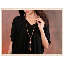 556340862968 ethnic wooden beads necklace Bodhi pendant sweater chain