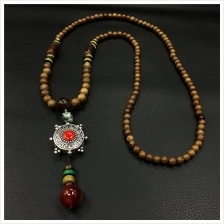 532225337183Retro ethnic wooden beads long necklace ladies agate pend