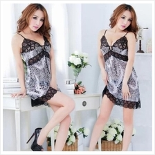 Women Leopard Lace Ribbon Sleepwear Lingerie A396