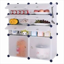 Tupper Cabinet 8 Cubes DIY Kitchen Storage White Stripes with 6 Iron Frame)