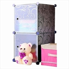 Tuppercabinet 2 Cubes White Stripes Doors Black Stripes DIY Storage Or)