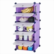 Tuppercabinet 5 Cubes Purple Stripes DIY Kitchen Storage with 4 Iron F)