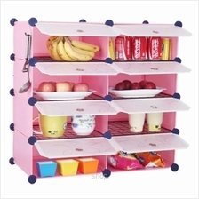 Tuppercabinet 8 Cubes Pink Color DIY Kitchen Shelf with 6 Iron Frame)