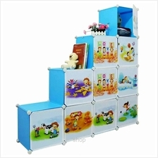 Tuppercabinet 10 Cubes DIY Sky Blue Cartoon L-Shape Storage Cabinet)