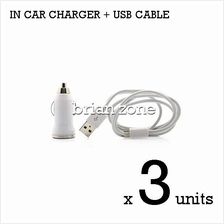 3 units Efficient & Fast Charging 5V 1A Car Charger + MicroUSB Cable