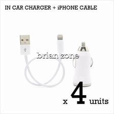 4 units Efficient & Fast Charging 5V 1A Car Charger + iPhone Cable
