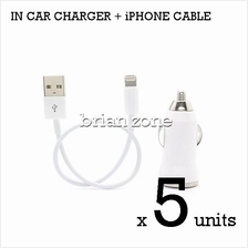 5 units Efficient & Fast Charging 5V 1A Car Charger + iPhone Cable