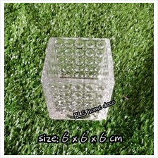 BLS8056 H 6 CM SQUARE GLASS VASE CONTAINER FLOWER DECORATION