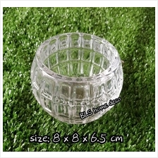 BLS8057 H 6.5 CM ROUND GLASS VASE CONTAINER FLOWER DECORATION