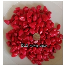 2KG 1CM - 3CM RED COLOR COATED STONE GARDEN LANDSCAPE DECOR F