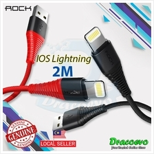 Rock Hi-Tensile IOS Lightning Charge  & Sync Round Cable Heavy Duty 2M