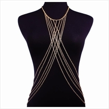 Crossed Alloy Body Chain (Gold)