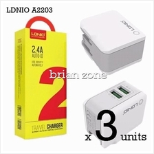 3 units Ldnio A2203 2.4a Auto Id 2 Port Usb Adapter With Lightning