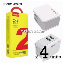4 units Ldnio A2203 2.4a Auto Id 2 Port Usb Adapter With Lightning