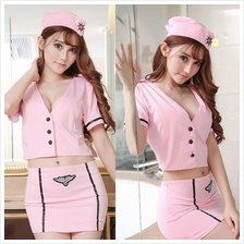 Sexy Pink Stewardess Office Lady Costume Sleepwear Lingerie U212