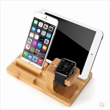 3 in 1 Bamboo Wood Charge Station for Apple Watch i Watch iWatch Stand