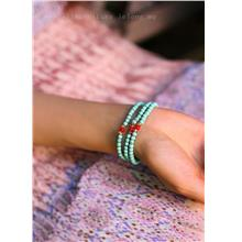 YN-6906	Simple turquoise three ring bracelet   简约&#32511..